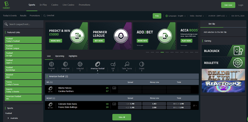 Fansbet Sportsbook Screenshot
