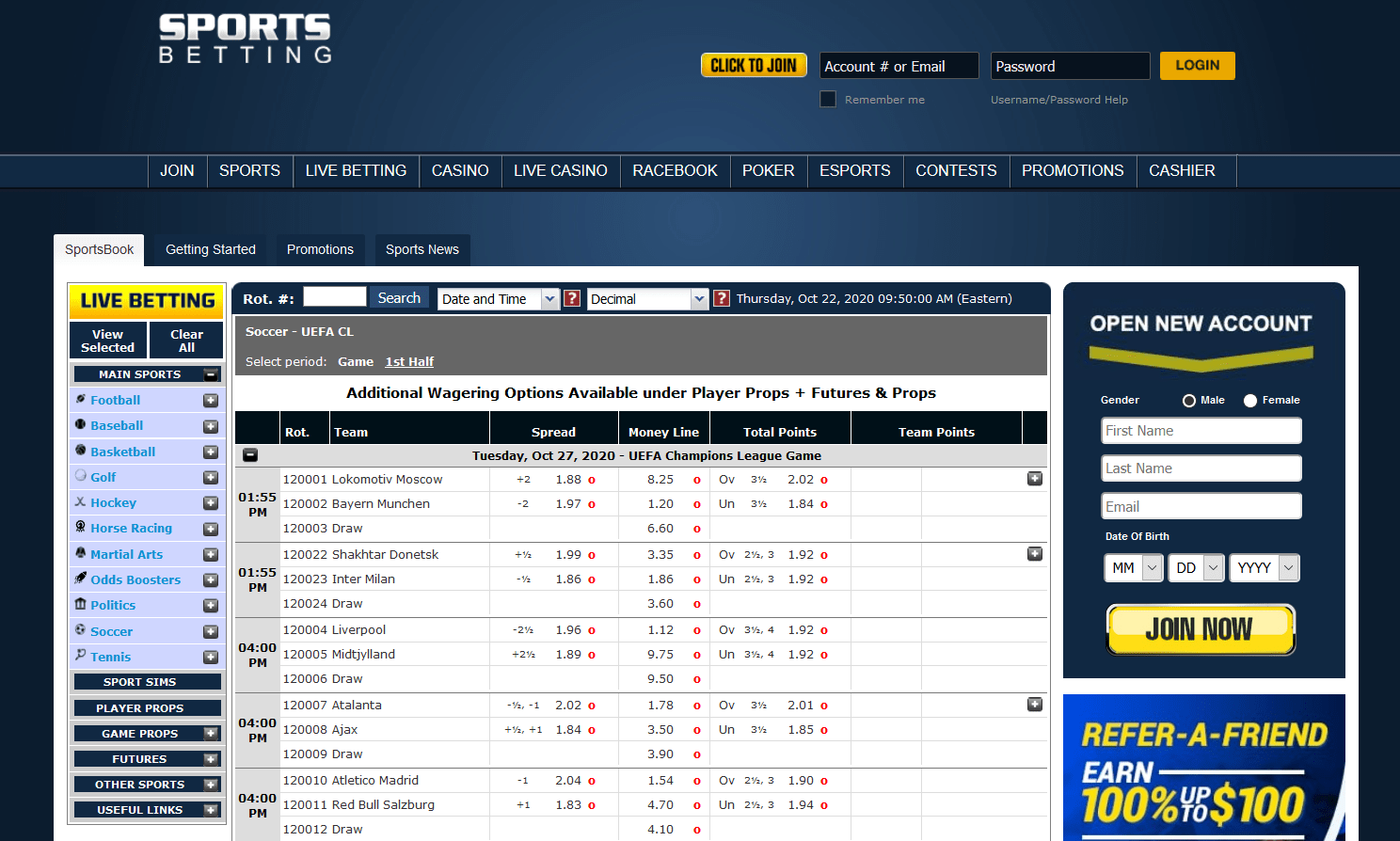 SportsBetting AG Screenshot