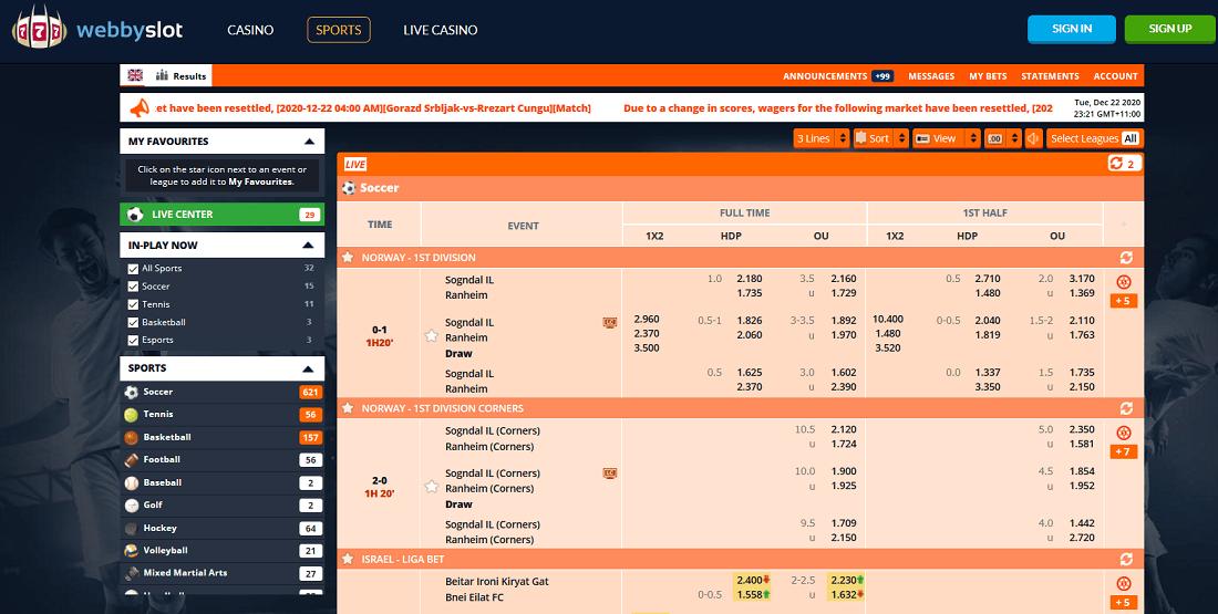 WebbySlot Sportsbook Screenshot